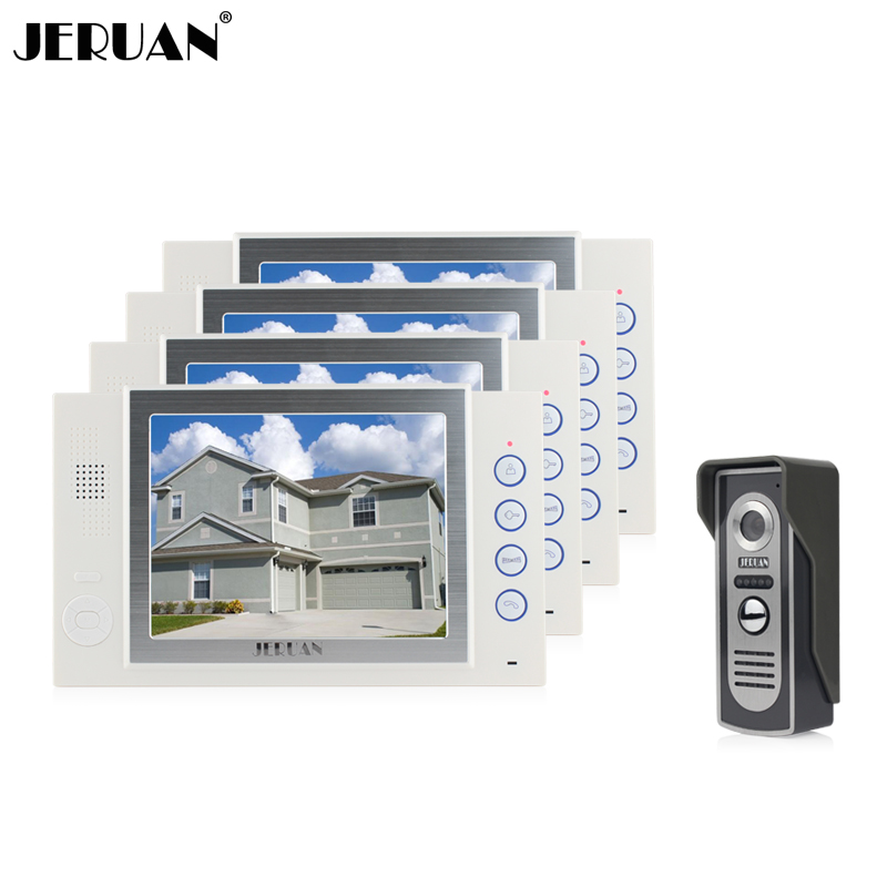 JERUAN 8 inch video door phone intercom system doorbell IR kit camera video doorphone recording photo taking 1V4 jeruan 8 inch video door phone high definition mini camera metal panel with video recording and photo storage function
