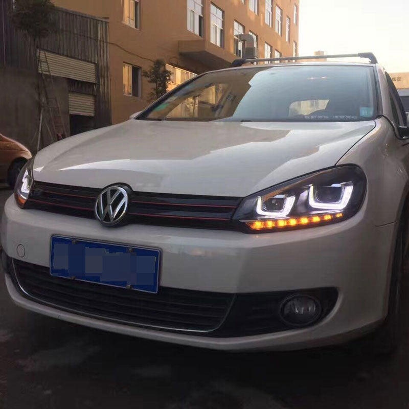 free shipping for vw golf 6 led head lamp 2010 to 2012 year with bi xenon projector lens in car. Black Bedroom Furniture Sets. Home Design Ideas