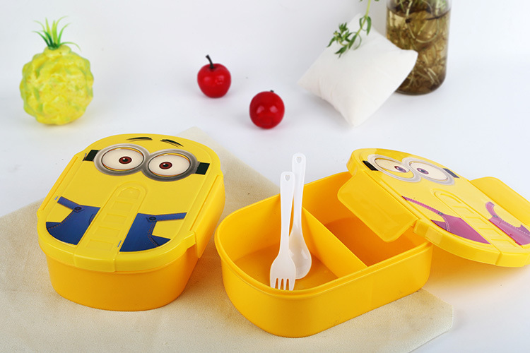 1 stk. Cute Cartoon Minions Mikrobølge Ovn Bento Container Taske Med Plastic Portable Lunch Boxes For Studerende Eller Kids