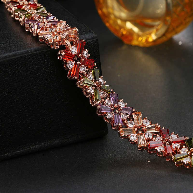 Emmaya gorąca sprzedaż złota róża kolor lśniąca bransoletka Multicolor CZ kamienie klastra kobiety bransoletka biżuteria Wedding Party prezent