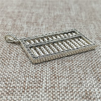 925 Sterling Silver Abacus Pendant w/ Marcasite Counting Frame Charm 3D Calculate
