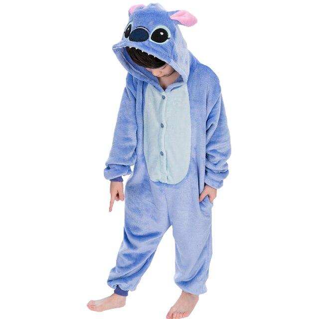 Kigurumi Kids Pajamas Flannel Baby Sleepwear Animal Stitch Winter Warm Hooded Boys Girls Pijamas Children Cosplay Onesies