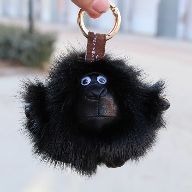 2017 new mink feather gorilla bag pendant fur doll car ornaments key chain fur pendant