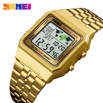 SKMEI Mens Watch reloj digital hombre Watch Men Military Waterproof Golden Watch Stainless Steel Fashion Electronic Wristwatches