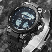 2019 Brand Men Sports Watches Dual Display Analog Digital LED Electronic Quartz Wristwatches Waterproof Swimming Military Watch naviforce men leather band wristwatches multifunction led waterproof dual display quartz analog date digital wrist watch 9128