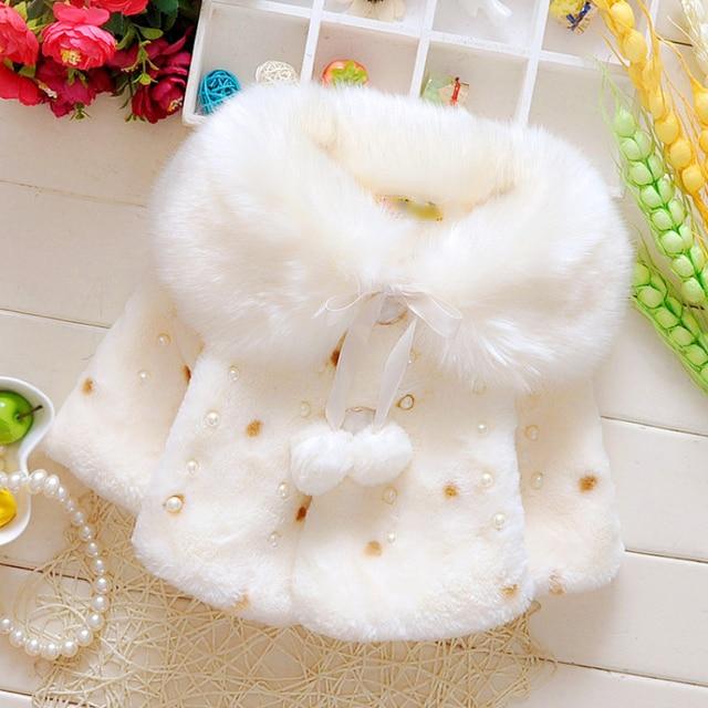 New Style Baby Toddler Infant Girls Clothes Cute Fleece Fur Winter Warm Coat Outerwear Cloak Jacket Kids Cute Ear Coat Clothes