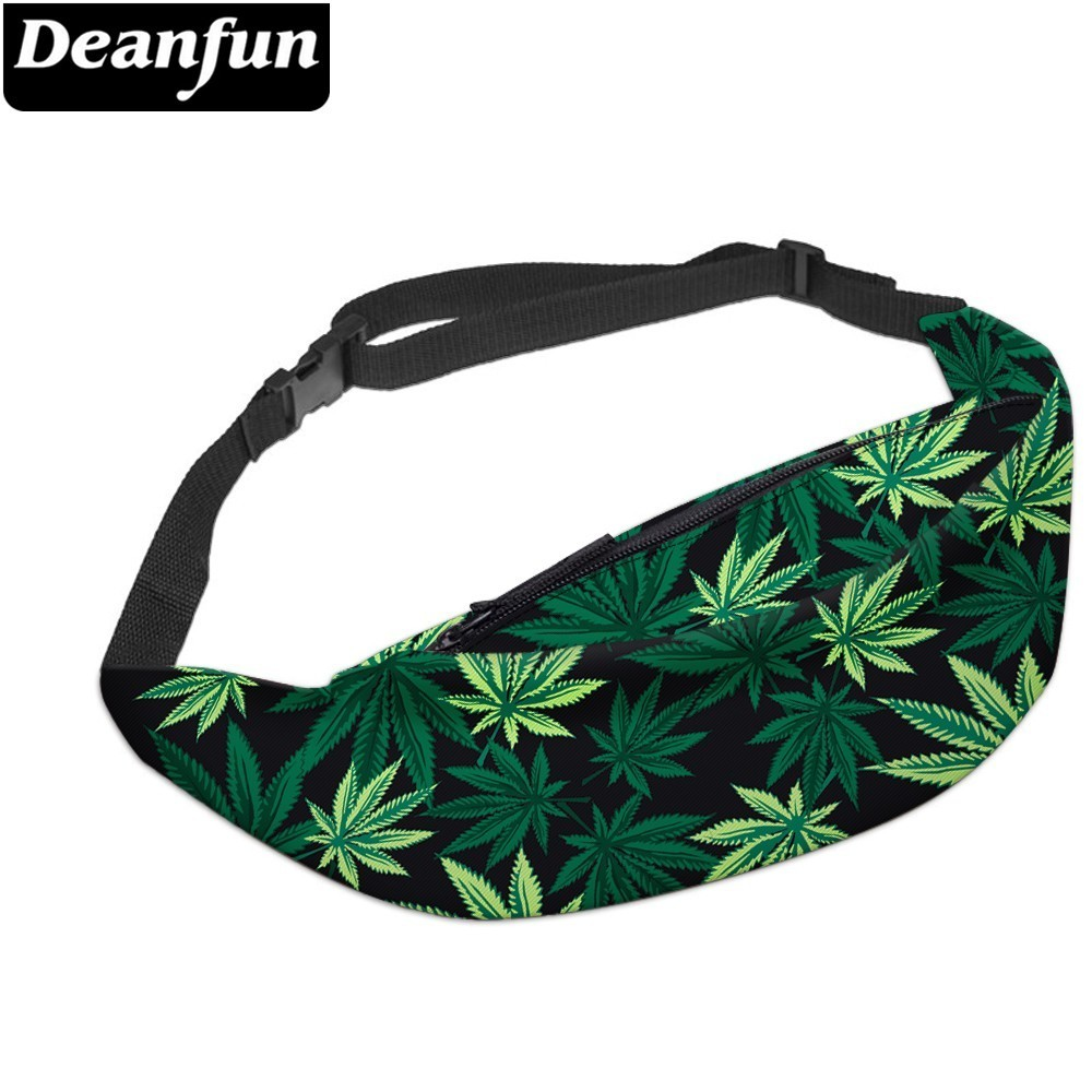Deanfun 3D Printed Waist Bags Green Leaves Fanny Pack