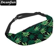 Deanfun 3D drukowane saszetki na pas zielone liście piterek z zamkiem błyskawicznym dla kobiet podróżujących YB7 tanie tanio Poliester YB-7 31 5inch Polyester Animal prints Na co dzień Poduszki Unisex 19 68inch Waist pack