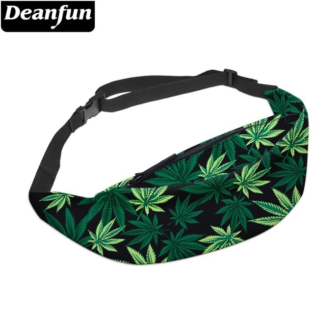 Deanfun 3D מודפס מותניים שקיות ירוק עלים פאני חבילה עם רוכסן לנשים נסיעה YB7