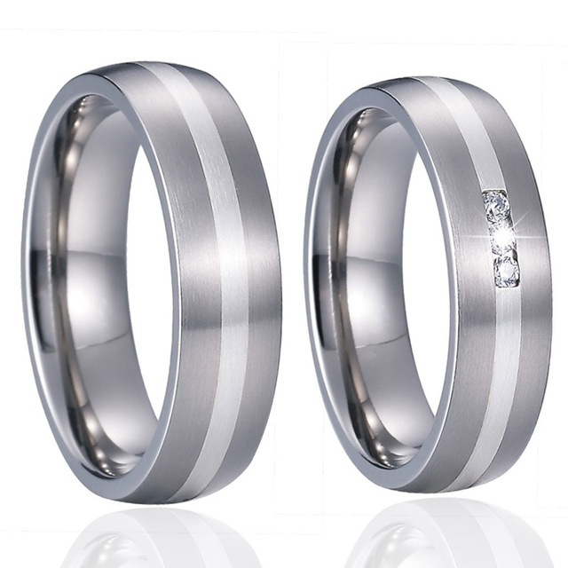 c933a7fe21 Custom Wedding Band Titanium Rings for men Unique Alliance luxury Silver Inlay  Couple Rings for women