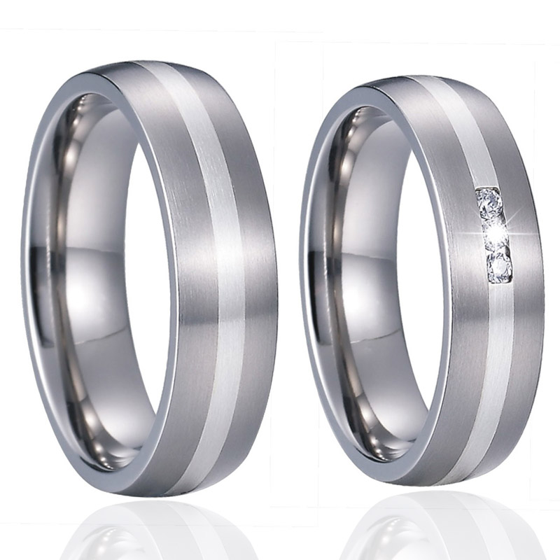 Custom Wedding Band Titanium Rings for men Unique Alliance luxury Silver Inlay Couple Rings for women