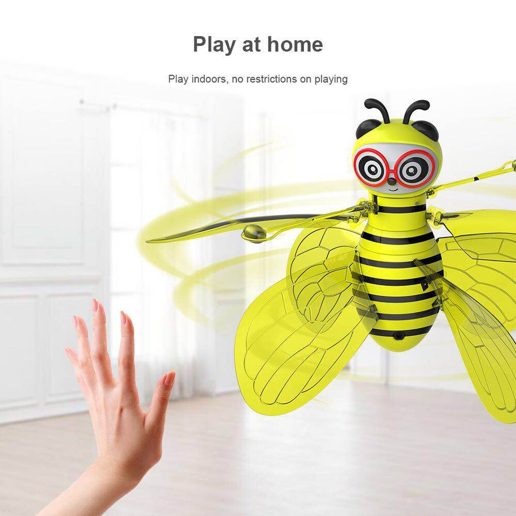 Cartoon Bee Mini Drone Infrarood Inductie Hand Control UFO Hoogte Hold RC Training Drone RC Quadcopter Voor Kinderen Kids