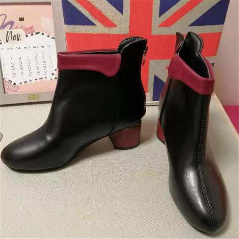 Nuevas botas Zanpace para mujer, temporada otoño 2020, botines de tacón alto para mujer, tallas 35-42, botas negras de primavera, botas de cuero a la moda para oficina