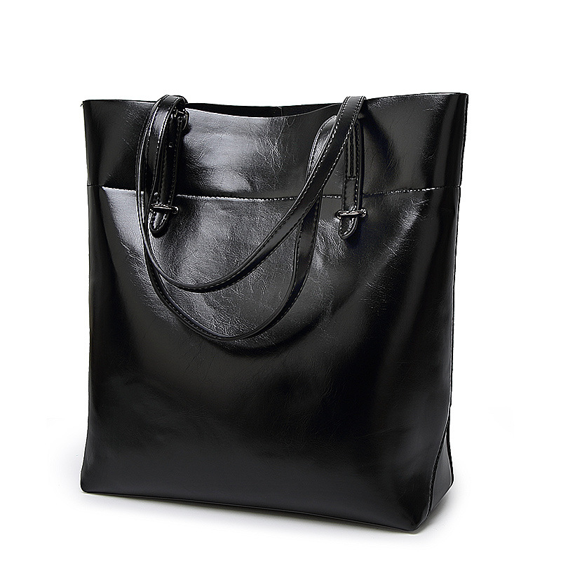 High Quality Women Leather Bucket Bag Shoulder Bags Solid Tote Handbag Big Capacity Top-handle Bags Herald Fashion New Arrivals