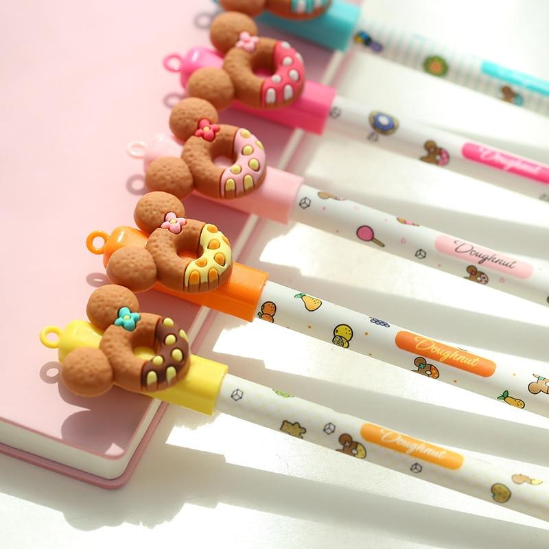 30 Pcs Cute Bear Gel Pen Donuts Cookie 0.5mm Roller Ball Blue Color Pens Stationery Office School Supplies Canetas Escolar A6440 цена