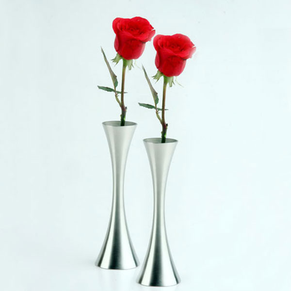 Freeshipping Stainless Steel Vase Single Rose Flower Holder Table