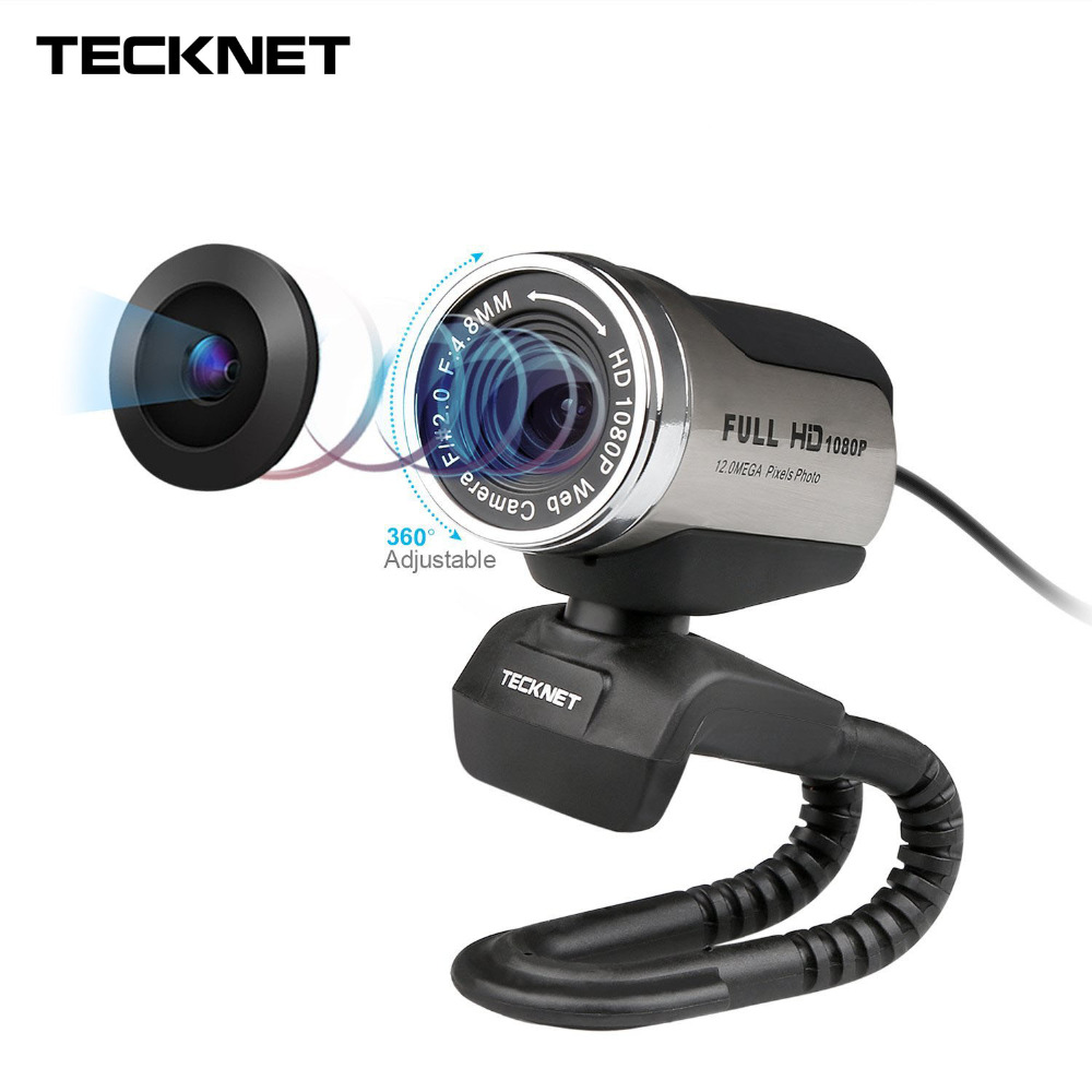 TeckNet 1080P HD Webcam with Built-in Noise-cancelling Microphone 1980x1080 Pixels USB Web Camera for Desktop Laptop Notebook PC driveless 1 3mp hd webcam with built in microphone black