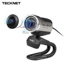 Tecknet 1080 P HD веб-камера со встроенным Шум микрофон с функцией шумоподавления 1980×1080 Пиксели USB веб-Камера для рабочего стола Ноутбук PC