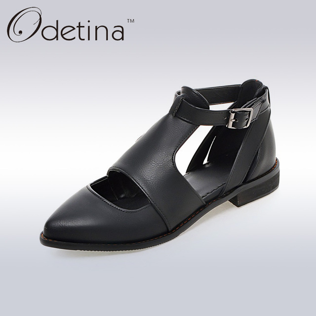 Odetina 2017 New Designer Women Pointed Toe Shoes Black Summer Low Heel Casual Shoes with Hollow Ladies Non-slip Bullock Shoes