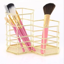 Ins Double Hexagon Pen Holder Rose Gold Storage Basket Wrought Iron Cosmetics Debris Box