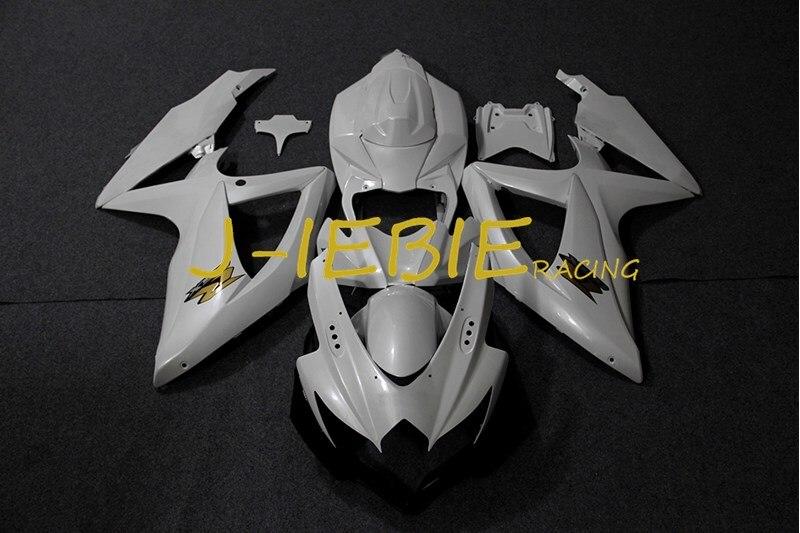 White Injection Fairing Body Work Frame Kit for SUZUKI GSXR 600/750 GSXR600 GSXR750 2008 2009 2010