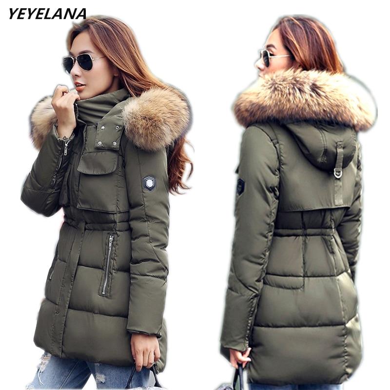 YEYELANA Women Winter Jacket Large Real Fur 2018 New Winter Women Parka Casual Outwear Hooded Coat Fur Coats Woman Clothes