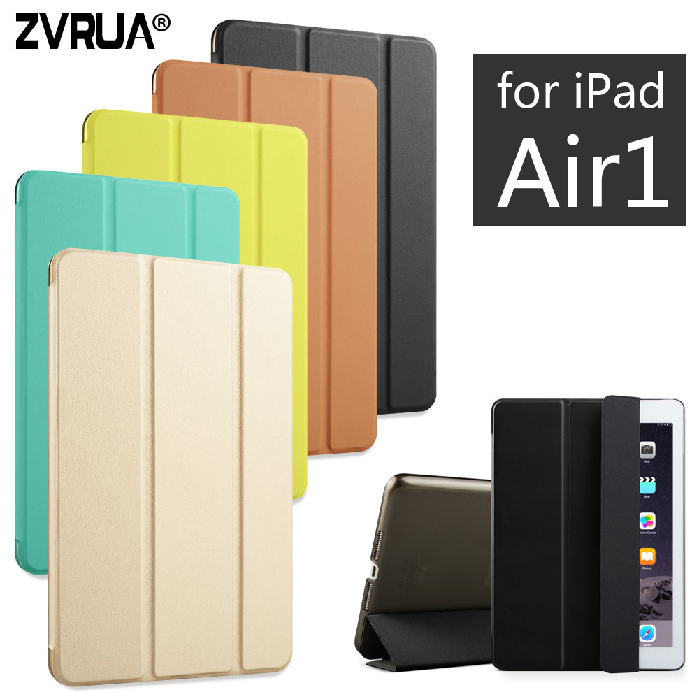 For iPad Air 1 ZVRUA YiPPee Color PU Smart Cover Case Magnet wake up sleep For
