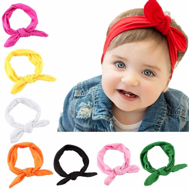 Baby Kids Girls Rabbit Bow Ear Hairband Headband Turban Knot Head Wraps Cotton Blends Unisex Black Pink Red Hot pink Green