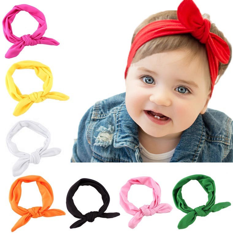 baby-kids-girls-rabbit-bow-ear-hairband-headband-turban-knot-head-wraps-cotton-blends-unisex-black-pink-red-hot-pink-green