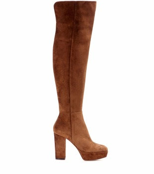 Women Brown Faux Suede Platform High Heel Knee High Boots Ladies Round toe Chunky Heel Long Boots