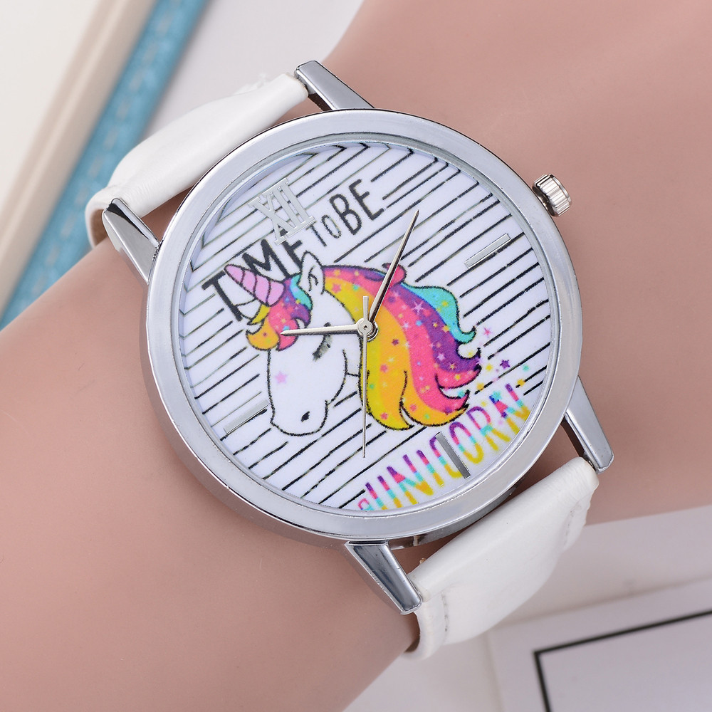 Womens Cartoon Wrist watch Ladies Girls Clock Cute Animal Unicorn Dial Leather Band Analog Alloy Quartz Wrist watch Relogio cartoon animal women watch