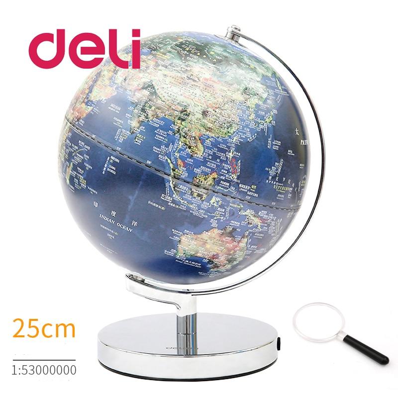 Deli stéréoscopique 3d monde terre globe LED lumière carte géographie éducatif métal Stand maison idéal Miniatures cadeau gadgets de bureau
