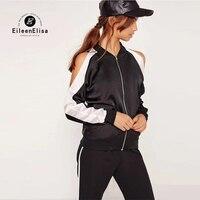 Eileen Elisa Sleeve Hollow Coat Women High Street Ladies Women Jackets 2017 Autumn Baseball Jacket Zipper