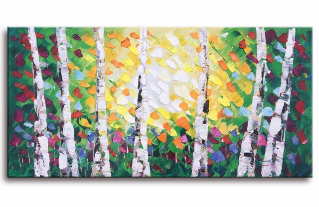 EVERFUN ART hand painted bright color landscape tree oil painting ...