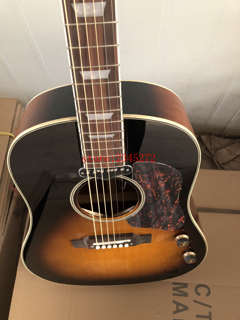 2019 new factory sunset color explosion model Chibson J160 acoustic guitar Original piakup free shipping