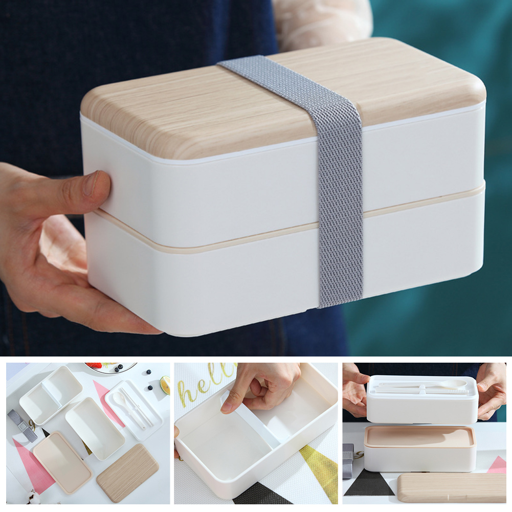 Cutlery Bento-Box Microwave Lunch-Insulated Potable Japanese-Style Leakproof Double-Layered