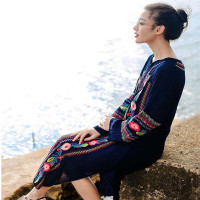 National Wind Embroidered Long Sleeve Dress 2 Color Bohemia V Neck Embroidered Flowers Beach Clothing Women