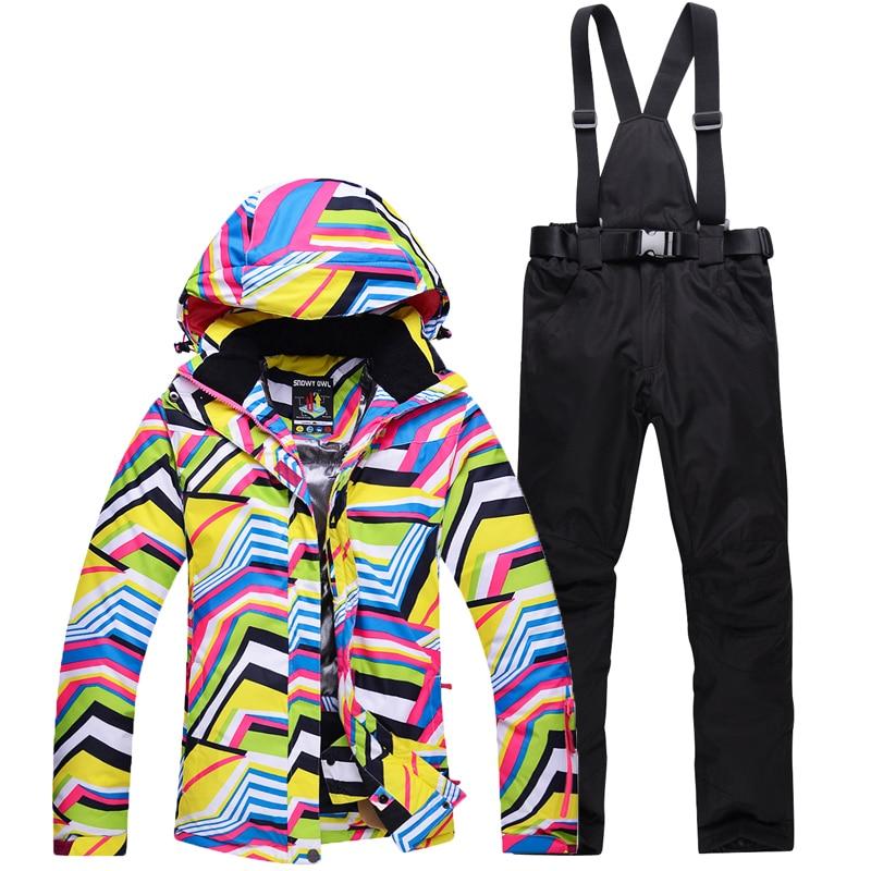 2aebaf35c8 Yellow winter Snow suit Sets Zebra crossing Women skiing snowboard ski  clothes windproof waterproof outdoor sports jackets+pants