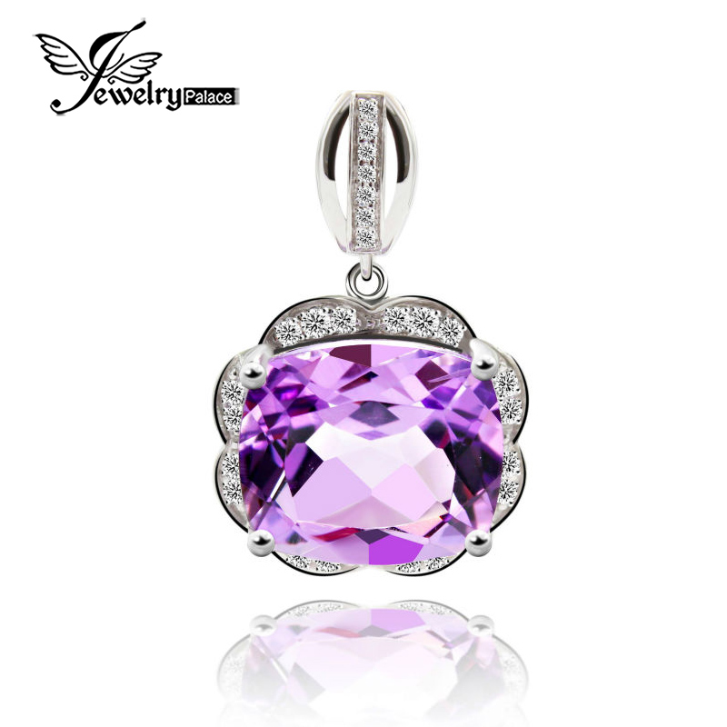 JewelryPalace Natural Amethyst Gemstone Pendant Necklace Cubic Zirconia Solid 925 Sterling Silver Fine Jewelry Without ChainJewelryPalace Natural Amethyst Gemstone Pendant Necklace Cubic Zirconia Solid 925 Sterling Silver Fine Jewelry Without Chain