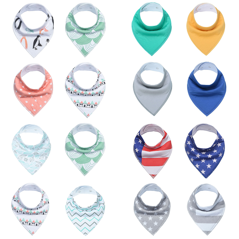 Baby Bandana Baby Bibs, Unisex 16-Pack Gift Set for Drooling and Teething, 100% Organic Cotton, Soft and Absorbent, Hypoallergen
