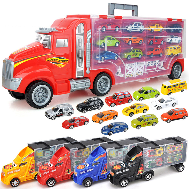 1/24 Scale Storage Container Truck Plastic Vehicles Toys With Diecast Mini Car Hot Alloy Auto Wheels Magic Tracks Cars For Kids