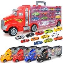 Camión contenedor de almacenamiento a escala 1/24, juguetes de vehículos de plástico con Mini coche fundido, ruedas de aleación caliente para coche, pistas mágicas para niños