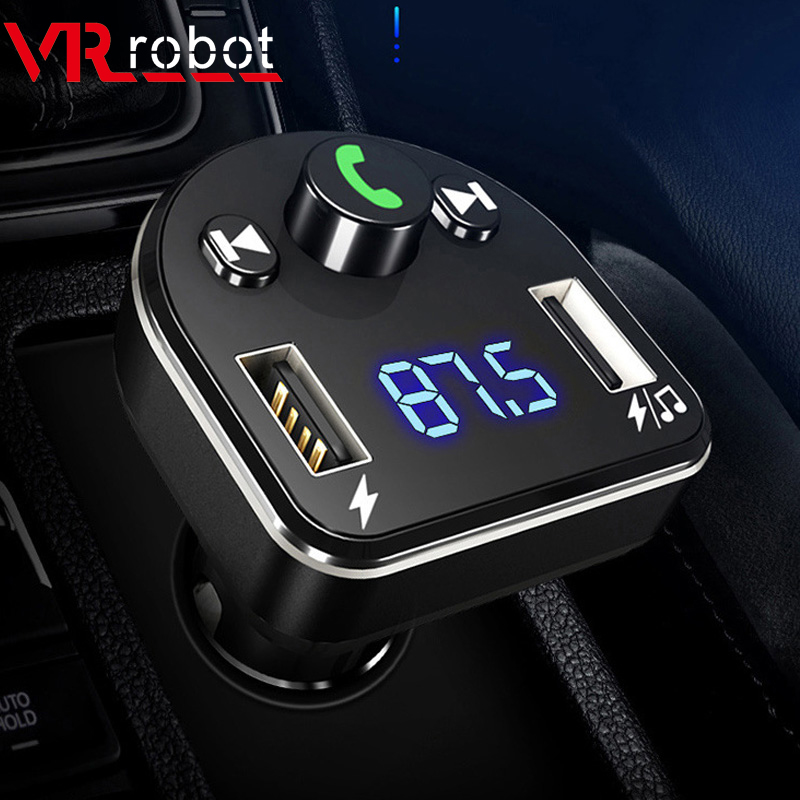VR Robô MP3 Player Do Carro do Bluetooth Transmissor FM Sem Fio Handsfree Car Kit Modulador De FM de Áudio Com 5V 3.1A Dual carregador USB