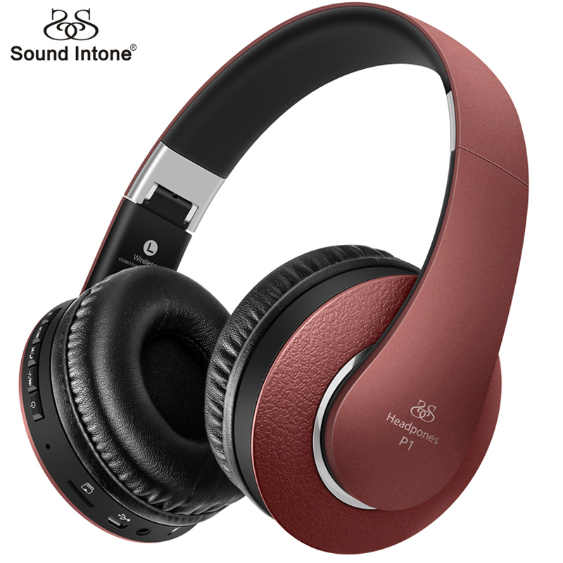 Sound Intone Bluetooth Headphones Wireless With Mic Support TF Card FM Radio Bass Over-ear Headset For Computer Cellphone TV mp3 zealot b570 headset lcd foldable on ear wireless stereo bluetooth v4 0 headphones with fm radio tf card mp3 for smart phone