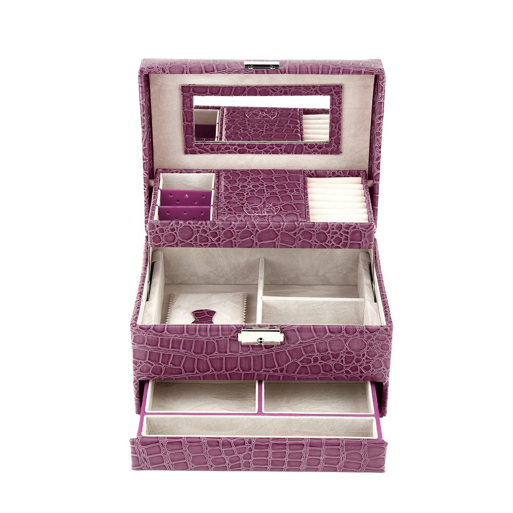 Luxury Leather 3 Layers Jewelry Display Box Ring Necklace Bracelet Storage Carrying Mirror Jewlery Container Caskets Gift Box