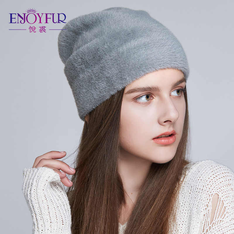 8444e3f09cd64c ... ENJOYFUR Women Hats For Winter Imitate Wool Thick Caps For Female Solid  Colors 2018 New Brand ...