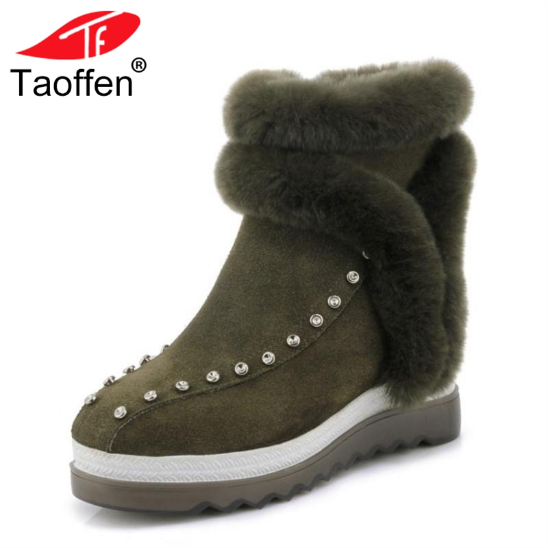 TAOFFEN Women Genuine Leather Ankle Boots Fashion Warm Fur Winter Shoes Women Platform Round Toe Office Lady Boots Size 34-39 women winter flats genuine leather round toe match colored buckle rhinestone fur fashion ankle snow boots size 35 39 sxq0826
