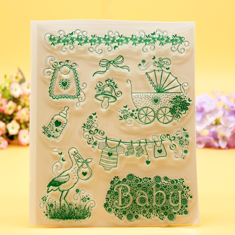 YLCS078 baby thing Silicone clear stamps for Scrapbooking DIY album cards decoration Embossing folder craft rubber stamp 14*18cm