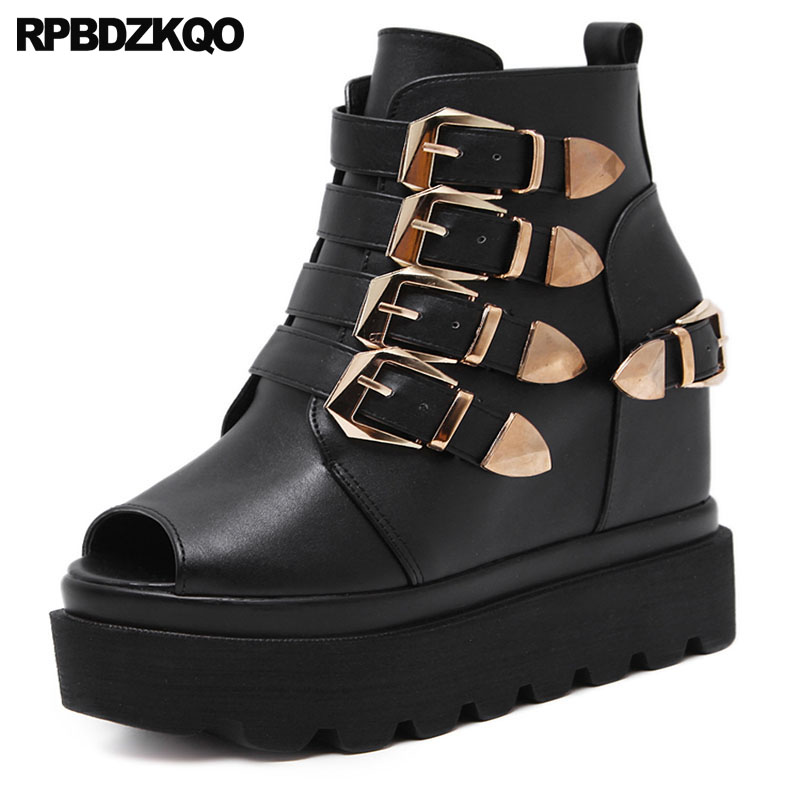 High Heels Fetish Peep Toe Boots Pumps Booties Women Wedge Platform Sandals Embellished Strap Flatform Shoes Gothic Extreme Punk pumps shoes rhinestone peep toe wedge diamond platform black ladies high heels crystal embellished women sandals 2018 summer