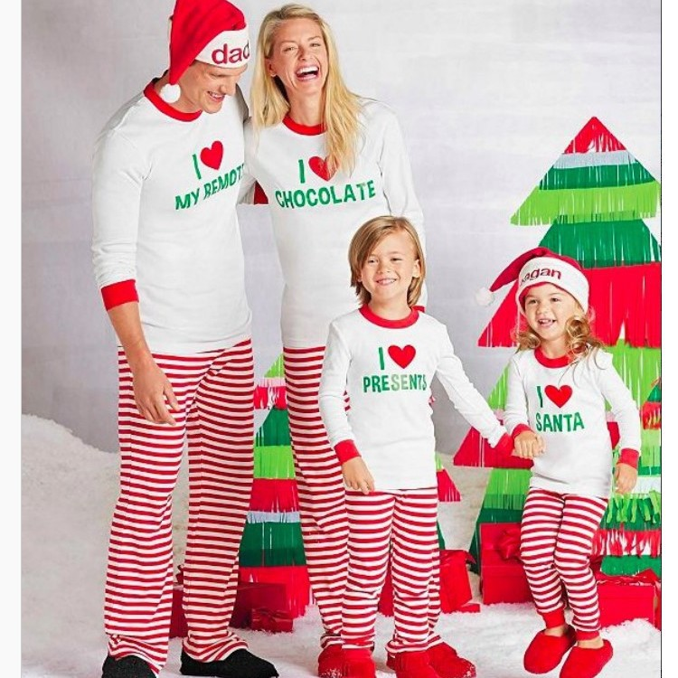 Parent-child Autumn 2018 Printed Striped Home Christmas Father Mother K